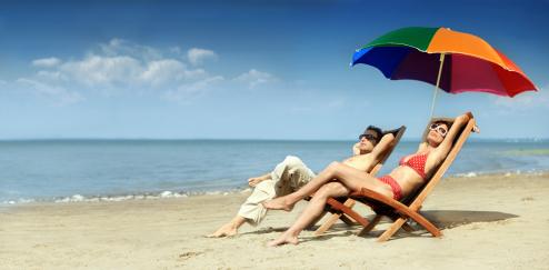 sunbathing in infrared heat